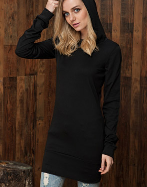 photo Black Long Sleeve Slim Fit Hooded Dress by OASAP, color Black - Image 2