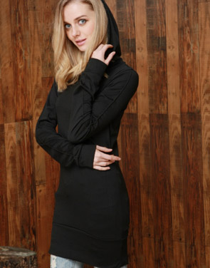 photo Black Long Sleeve Slim Fit Hooded Dress by OASAP, color Black - Image 1