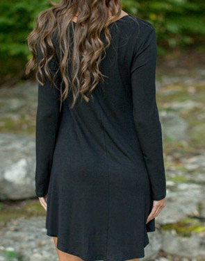 photo Black V-Neck Long Sleeve Stretch Knit Trapeze Dress by OASAP, color Black - Image 2