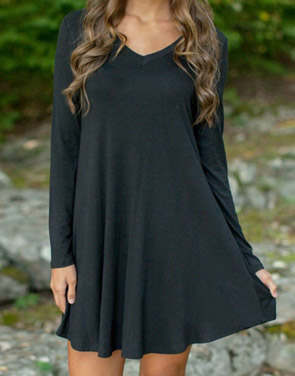 photo Black V-Neck Long Sleeve Stretch Knit Trapeze Dress by OASAP, color Black - Image 1