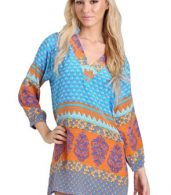 photo Boho Mixed Print V-Neck Mini Dress by OASAP - Image 1