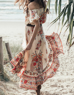 photo Boho Slash Neck Off Shoulder Floral Print High Low Dress by OASAP, color Multi - Image 2