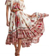 photo Boho Slash Neck Off Shoulder Floral Print High Low Dress by OASAP, color Multi - Image 1