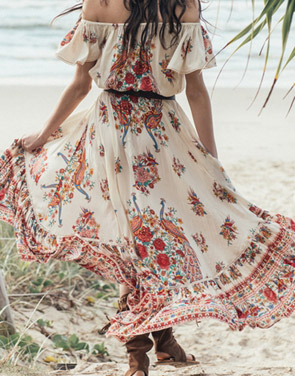 photo Boho Slash Neck Off Shoulder Floral Print High Low Dress by OASAP, color Multi - Image 3