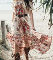 photo Boho Slash Neck Off Shoulder Floral Print High Low Dress by OASAP, color Multi - Image 4