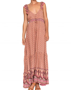 photo Boho Sleeveless Open back Print Front Split Maxi Dress by OASAP, color Multi - Image 1