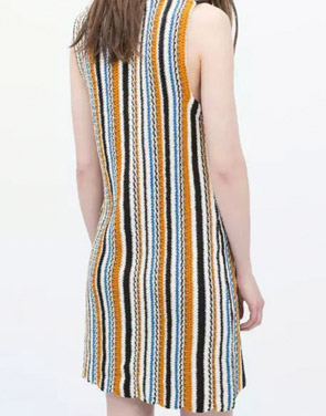 photo Boho Stripe Pattern Knitted Sleeveless Dress by OASAP, color Multi - Image 2