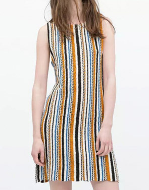 photo Boho Stripe Pattern Knitted Sleeveless Dress by OASAP, color Multi - Image 1