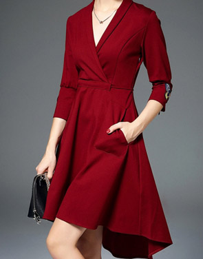 photo Butterfly Embroidery V-Neck Asymmetric Tie Waist Dress by OASAP, color Dark Red - Image 1
