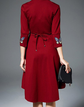 photo Butterfly Embroidery V-Neck Asymmetric Tie Waist Dress by OASAP, color Dark Red - Image 2