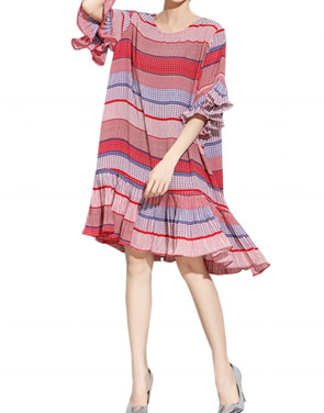photo Casual Half Sleeve Knee Length Ruffled Dress by OASAP, color Multi - Image 1