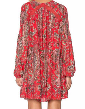 photo Casual Lace-Up Front Floral Printing Chiffon Dress by OASAP, color Red - Image 2