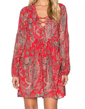 photo Casual Lace-Up Front Floral Printing Chiffon Dress by OASAP, color Red - Image 1