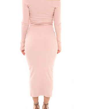 photo Casual Off The Shoulder Buttoned Long Sleeve Bodycon Dress by OASAP, color Pink - Image 2