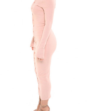 photo Casual Off The Shoulder Buttoned Long Sleeve Bodycon Dress by OASAP, color Pink - Image 3