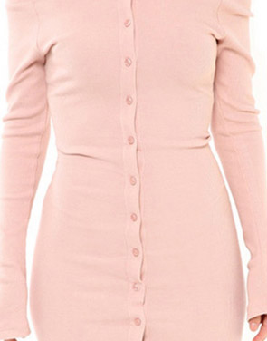 photo Casual Off The Shoulder Buttoned Long Sleeve Bodycon Dress by OASAP, color Pink - Image 4