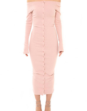 photo Casual Off The Shoulder Buttoned Long Sleeve Bodycon Dress by OASAP, color Pink - Image 1