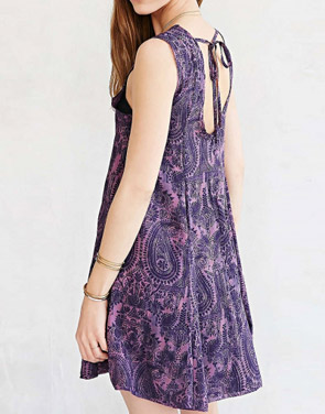 photo Casual Printed Backless A-Line Chiffon Mini Dress by OASAP, color Purple - Image 2
