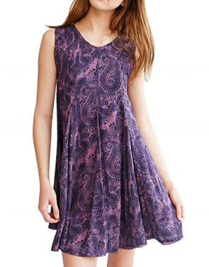 photo Casual Printed Backless A-Line Chiffon Mini Dress by OASAP, color Purple - Image 1