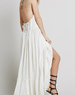 photo Casual Solid Halter Backless Midi Beach Dress by OASAP - Image 5