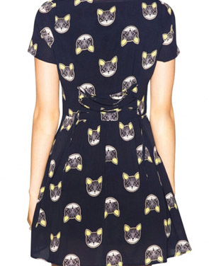 photo Cat Face Print Mini Dress by OASAP, color Navy - Image 2