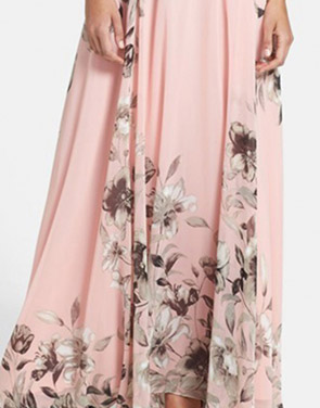 photo Charming Floral Printed Sleeveless Maxi Dress by OASAP, color Pink - Image 4