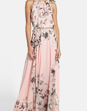 photo Charming Floral Printed Sleeveless Maxi Dress by OASAP, color Pink - Image 5