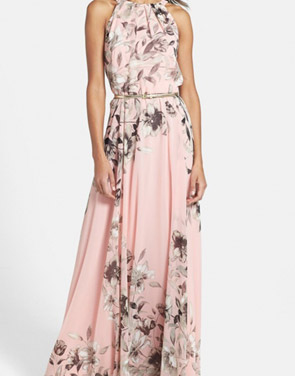 photo Charming Floral Printed Sleeveless Maxi Dress by OASAP, color Pink - Image 1