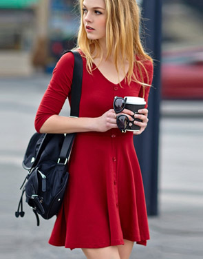 photo Chic Button Down Trapeze Dress by OASAP - Image 3