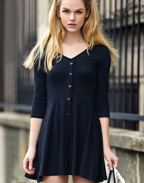 photo Chic Button Down Trapeze Dress by OASAP - Image 6