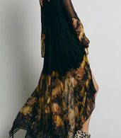photo Chic Floral Printing Maxi Chiffon Dress by OASAP, color Black - Image 2