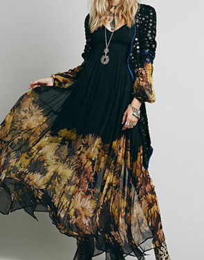 photo Chic Floral Printing Maxi Chiffon Dress by OASAP, color Black - Image 3