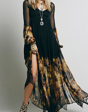 photo Chic Floral Printing Maxi Chiffon Dress by OASAP, color Black - Image 6