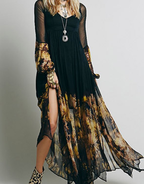 photo Chic Floral Printing Maxi Chiffon Dress by OASAP, color Black - Image 1
