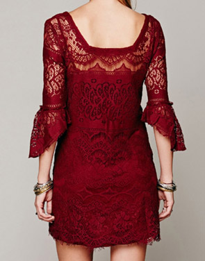 photo Chic Hollow Out Simple Color Scalloped Lace Dress by OASAP - Image 2