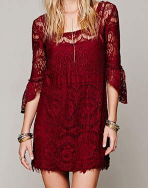 photo Chic Hollow Out Simple Color Scalloped Lace Dress by OASAP - Image 1