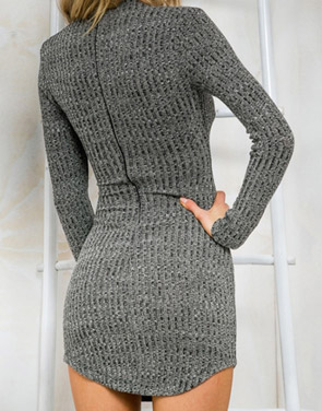 photo Chic Lace-up Front Knit Bodycon Dress by OASAP, color Grey - Image 2