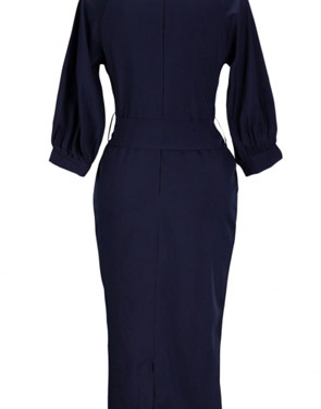 photo Chic Lantern Sleeve Belted Slim Fit Midi Dress by OASAP, color Deep Blue - Image 2