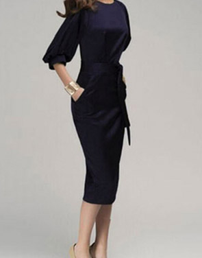 photo Chic Lantern Sleeve Belted Slim Fit Midi Dress by OASAP, color Deep Blue - Image 3