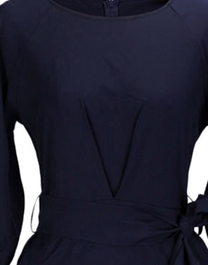 photo Chic Lantern Sleeve Belted Slim Fit Midi Dress by OASAP, color Deep Blue - Image 4
