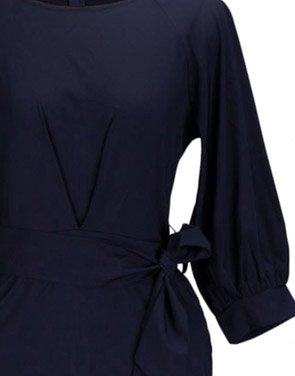 photo Chic Lantern Sleeve Belted Slim Fit Midi Dress by OASAP, color Deep Blue - Image 5