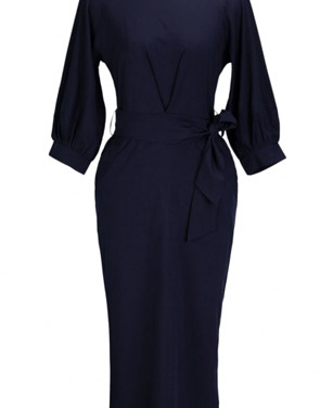 photo Chic Lantern Sleeve Belted Slim Fit Midi Dress by OASAP, color Deep Blue - Image 1