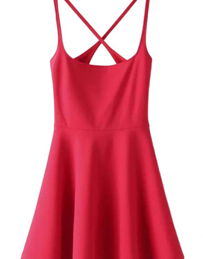 photo Chic Spaghetti Straps Backless Skater Dress by OASAP - Image 3