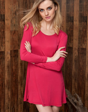 photo Chic Stretch knit Trapeze Dress by OASAP, color Burgundy - Image 2
