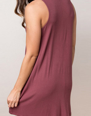photo Chic Stretch Knit Trapeze Dress by OASAP, color Brick Red - Image 2