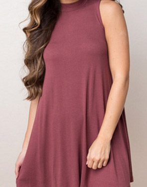 photo Chic Stretch Knit Trapeze Dress by OASAP, color Brick Red - Image 1