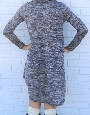 photo Chic Turtleneck Asymmetrical Hem Knit Dress by OASAP, color Grey - Image 2