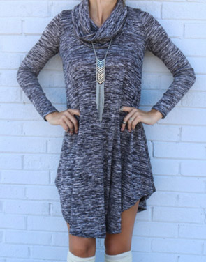 photo Chic Turtleneck Asymmetrical Hem Knit Dress by OASAP, color Grey - Image 1