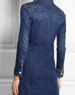 photo Classic Button Front Breasted Pocket Slim Fit Denim Dress by OASAP, color Blue - Image 2