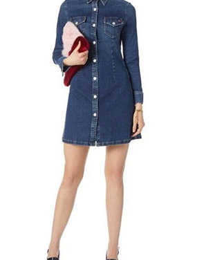 photo Classic Button Front Breasted Pocket Slim Fit Denim Dress by OASAP, color Blue - Image 1